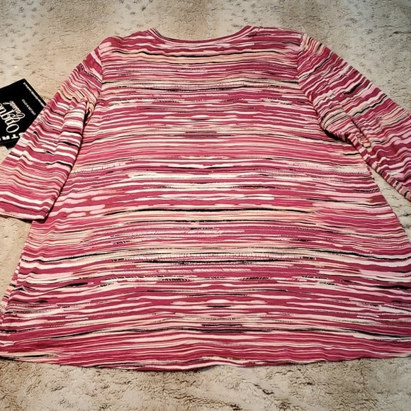 NWT Onque Casual Petite Striped Jewel Embellished Top
