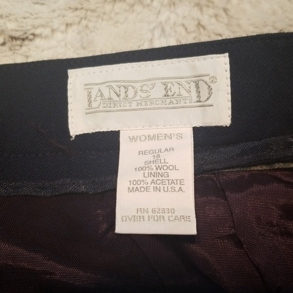 Land's End 100% Wool Navy Lined Skirt Size 18
