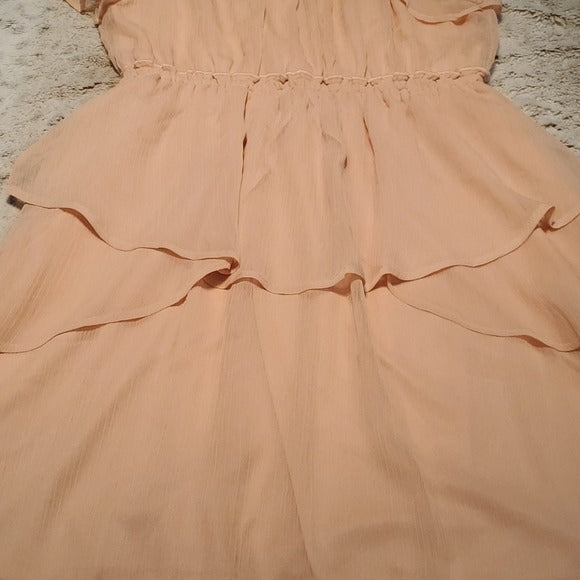 NWT Y.A.S. Peach Ruffle Skater Dress Midi Lace Size M