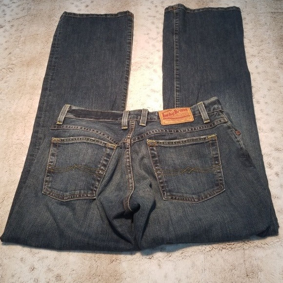Lucky Brand Darker Wash Button Fly Straight Jeans Size 4