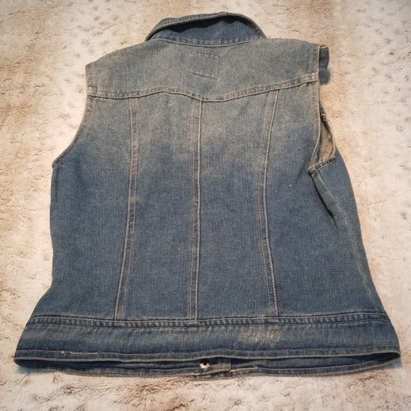Dolled Up Studded and Distressed Jean Vest Size S