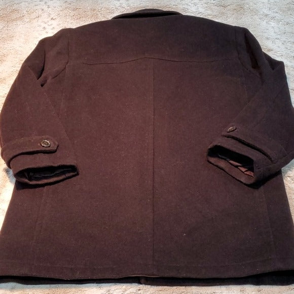 Andrew Marc Black Wool Cashmere Blend Pea Coat Size M