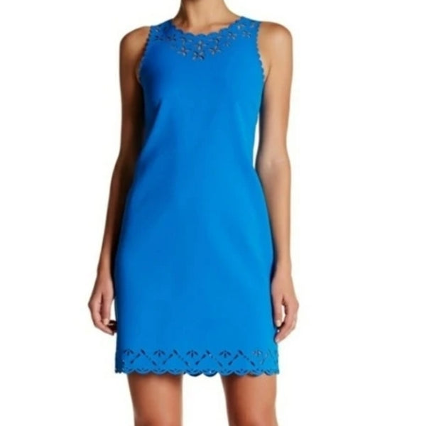 J.Crew Factory Blue Sheath Dress With Laser Cutout Size 0