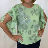 NWT Sioni Relaxed Flowey Floral Blouse w Ruffle Sleeve