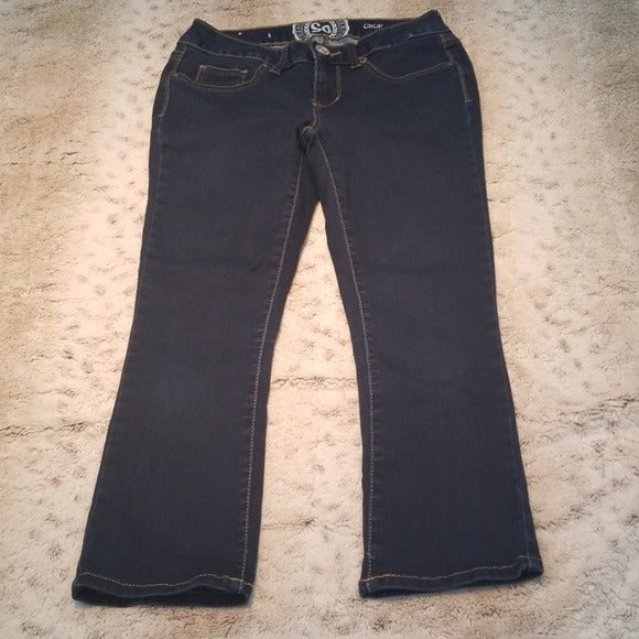 SO Dark Wash Stretchy Cropped Skinny Jeans Size 1