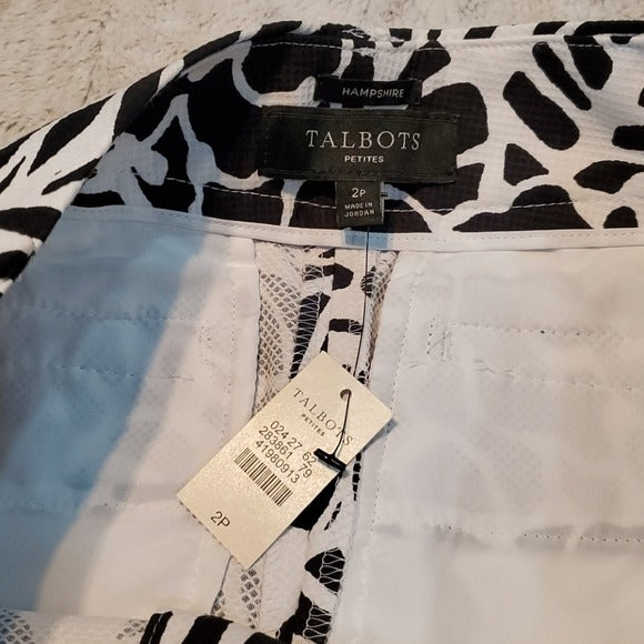 NWT Talbots Petites Tropical Shadow Hampshire Pants Size 2P