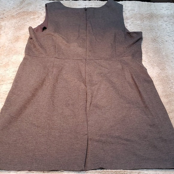 Lands' End Ponte Gray Sheath Dress With Pockets Size 26W