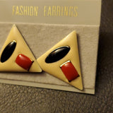 Boutique Red and Blue Triangle Fashion Earrings