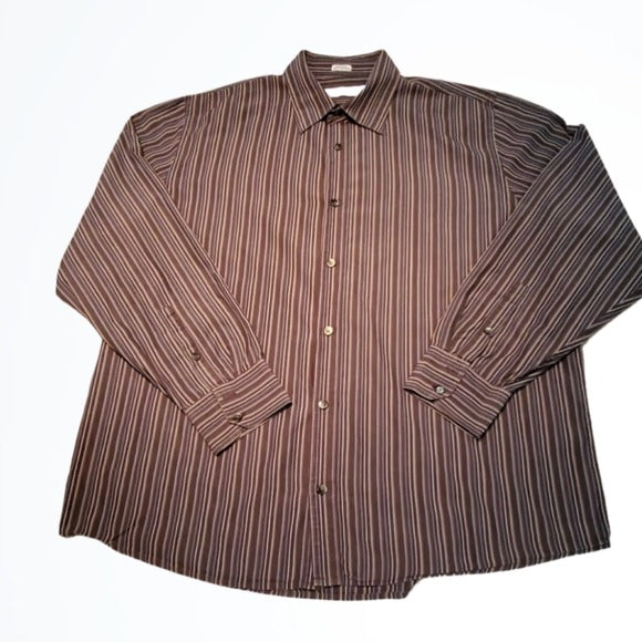 Calvin Klein Blue and Black Striped Button Down Size XL