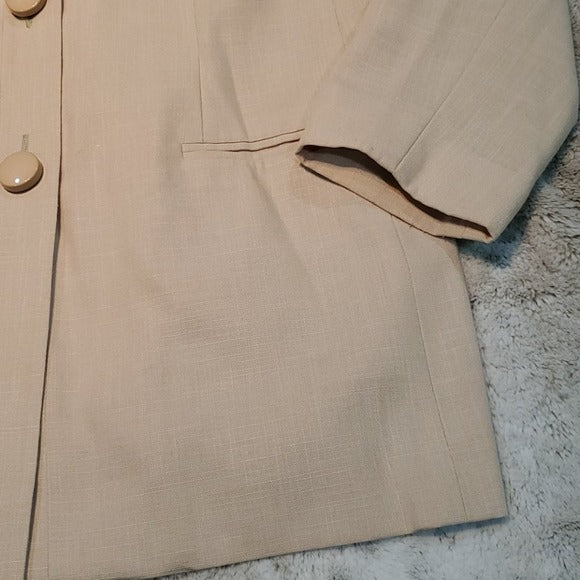 Oleg Cassini Vintage Long Cream 3 Button Blazer Size 6