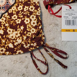 NWT Ruby Rd. Maroon Side Cinch 3/4 Sleeve Paisley Top