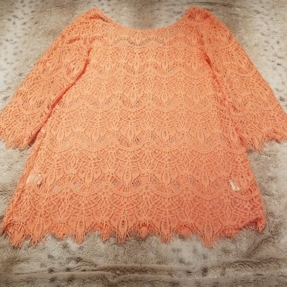 Boutique Peach Crochet Zippered Sweater Size L