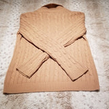 Chaps Tan Cowl V Neck Cable Knit Sweater Size M