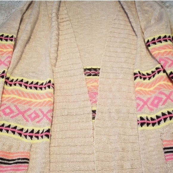 Eyeshadow Open Front Tan and Neon Cardigan Size M