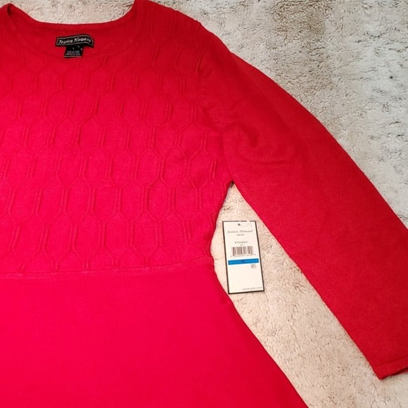 NWT Jessica Howard Red Textured Long Sleeve Dress Size L