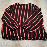 NWT OLM Criss Cross Gathered V Neck Striped Blouse