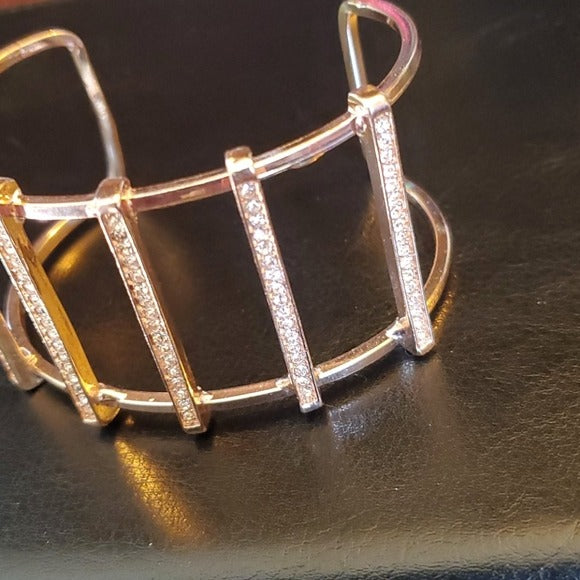 Boutique Gold Tone Adjustable Bangle w Accents
