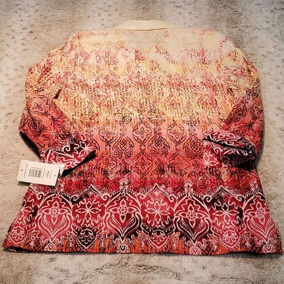 NWT Alia Ombre Moroccan Moment Button Down Shirt Size 6