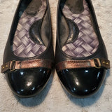 Born Black Leather Patent Black Cap Toe Flats Size 6.5
