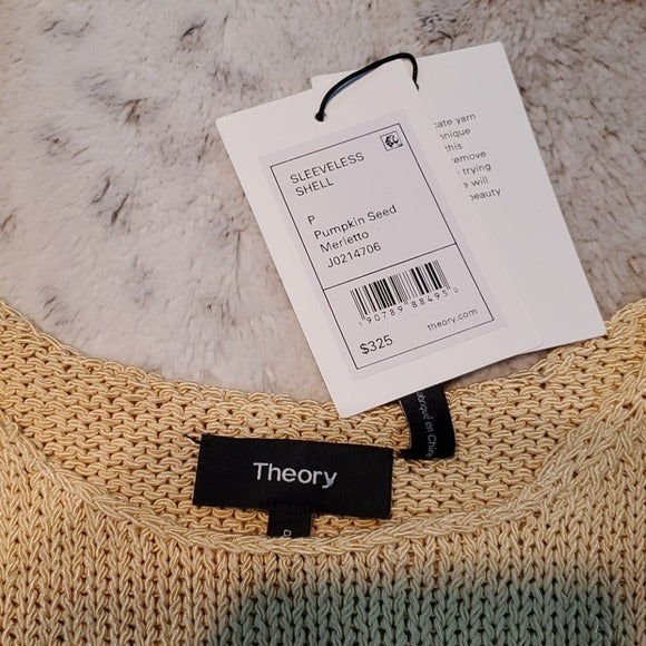 NWT Theory Merletto Sleeveless Knit Shell Pumpkin Seed