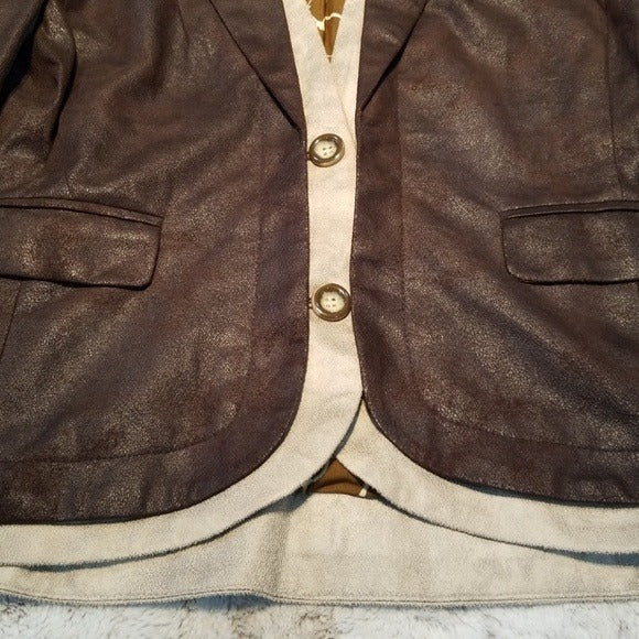 NWT Mystree Brown Layered 2 Button Blazer Size M