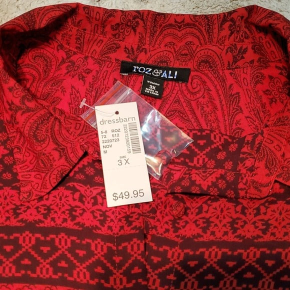 NWT Roz & Ali Paisley Print Button Down Size 3XL