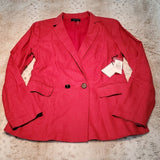 NWT 1. State Roll Sleeve Linen Blazer In Mineral Red Size 6