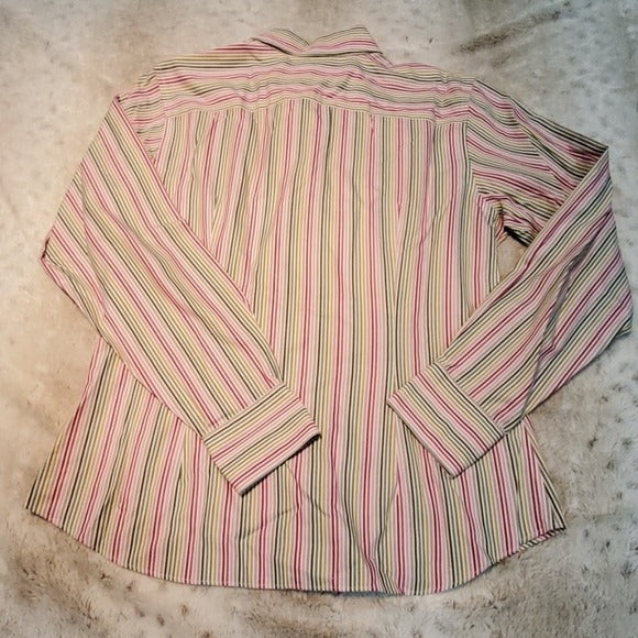 Land's End Vertical Striped Button Down Size 10