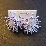 Boutique Purple and White Starburst Fashion Earrings