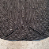 Express Design Black Polka Dotted V Neck Blouse Size M