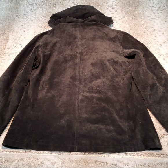 Atelier by B. Thomas Black Leather Coat w Hood Size S