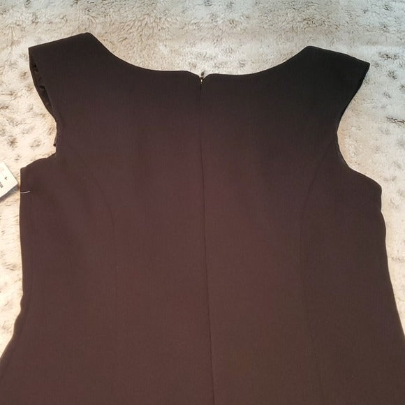 NWT S.L. Fashions Black Bow Shoulder Detailed Dress Size 8
