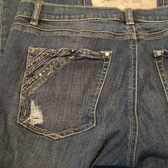 WHBM Mid Rise Embellished Slim Ankle Blue Jeans Size 8R