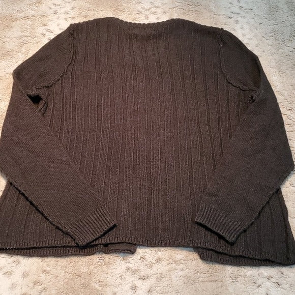 Tahari Gray Inside Out Wool Bl Buckle Cardigan Size 1X