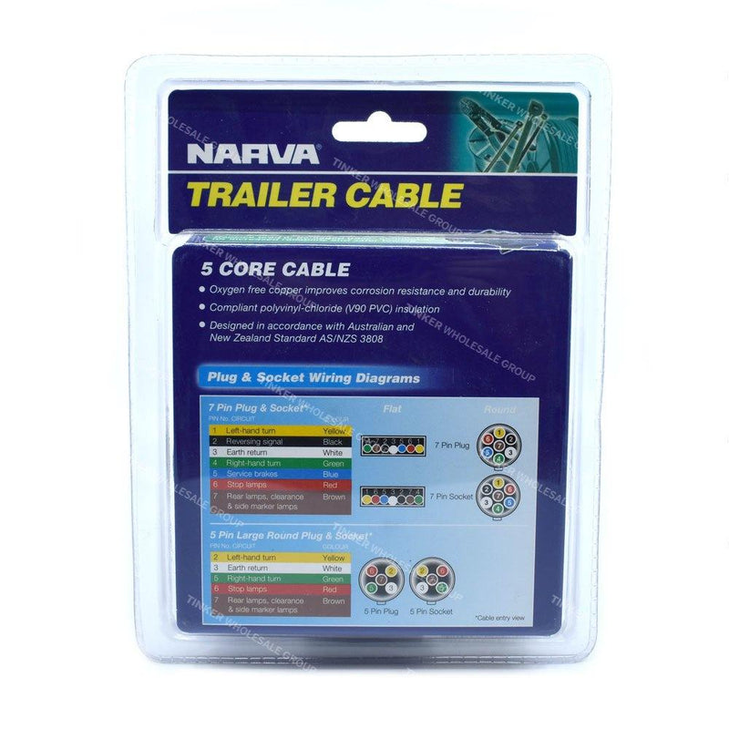 Narva 5 Core Trailer Cable 5 Amp, 2.5mm x 6 Metres