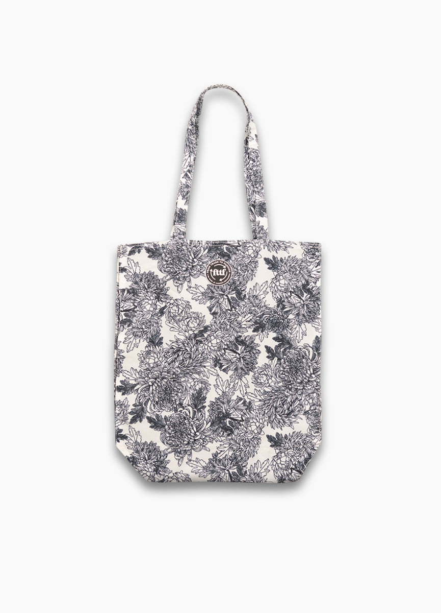 Tote Shopper - Flower Black/White