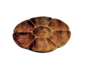 Pacific Merchant Acacia Wood Chip and Dip Flower Tray