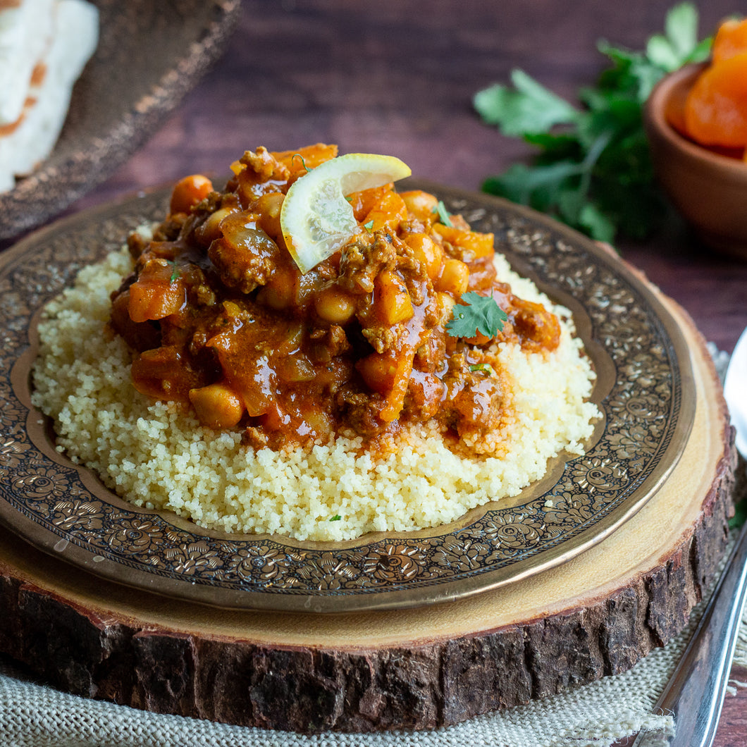 Moroccan Ground Beef Tagine with Orange Couscous