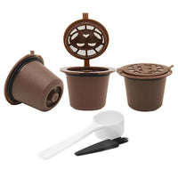 3Pcs Reusable Nespresso Coffee Capsule with Plastic Spoon Filter Pod Brush