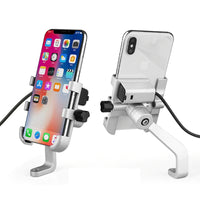 Aluminum Motorcycle Phone Holder Stand With USB Charger