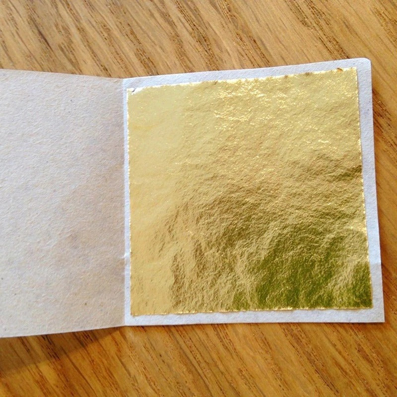 9x9cm 100 Sheets -  Shiny Gold Leaf for Gilding Funiture Lines