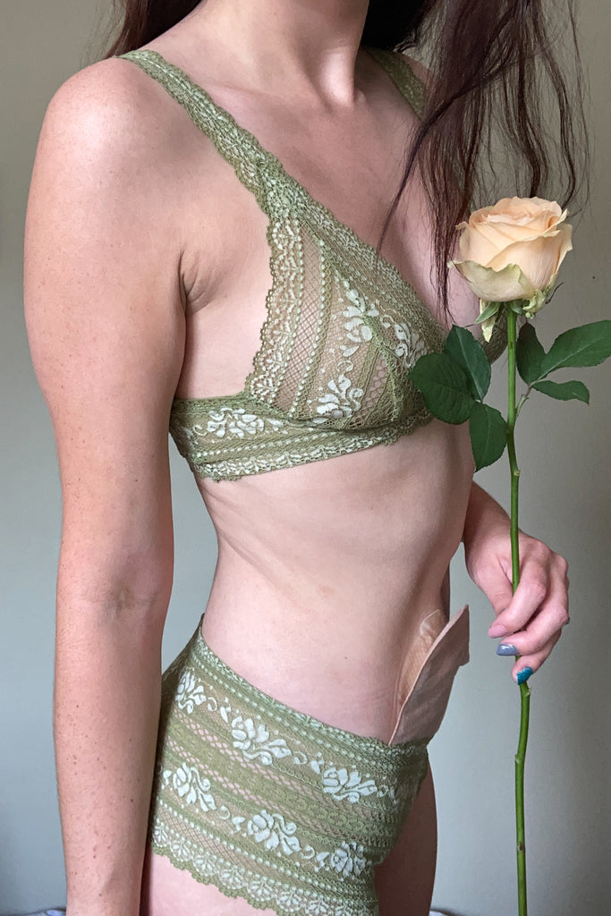Apple Green Tiger Lily Lingerie Set