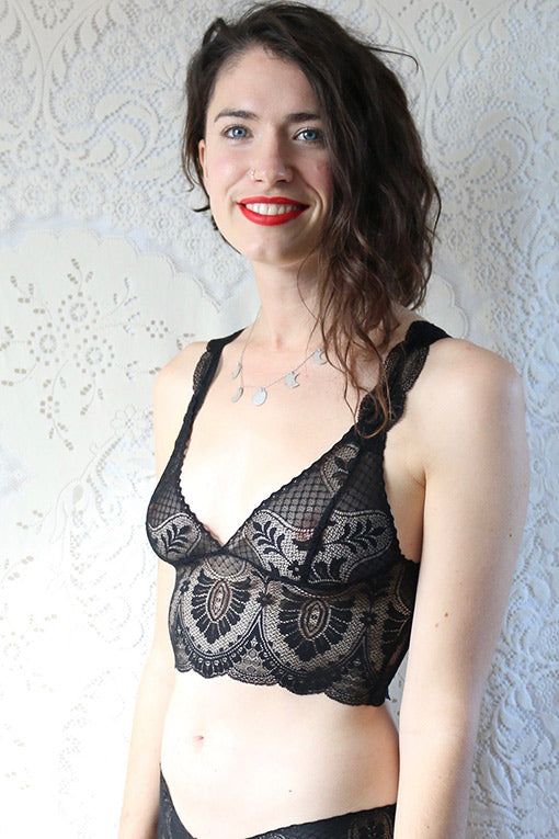 Sheer Black Lace Bralette
