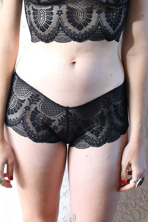 Black lace sheer panties