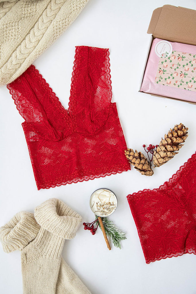 Red Maple Leaf Lace High Waisted Knickers