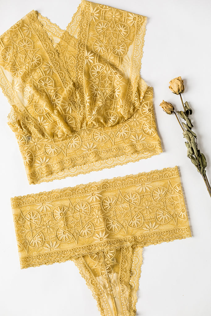 Golden Ochre Lace Sweetheart Lingerie Set