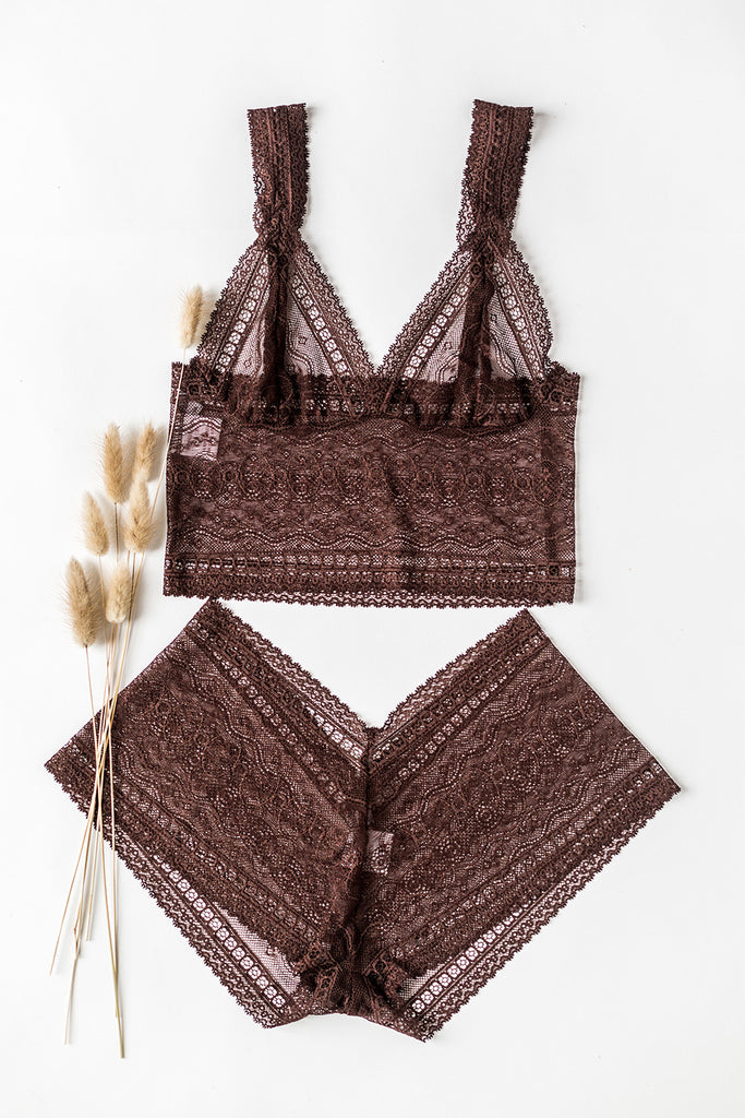Nutmeg Brown Lace Longline Lingerie Set