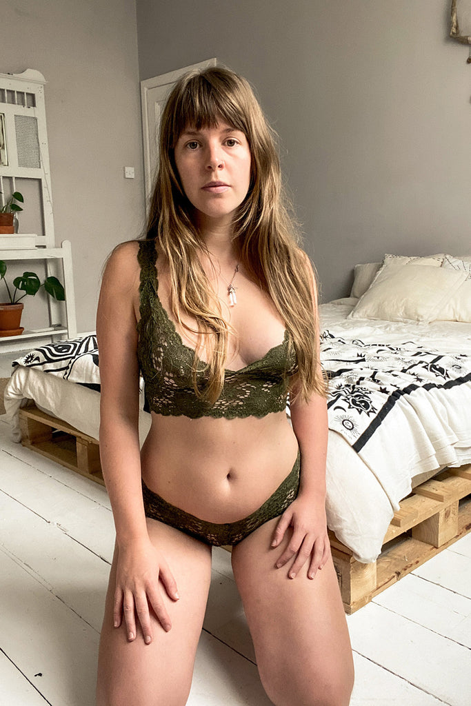 Dark Olive Lace French Knickers