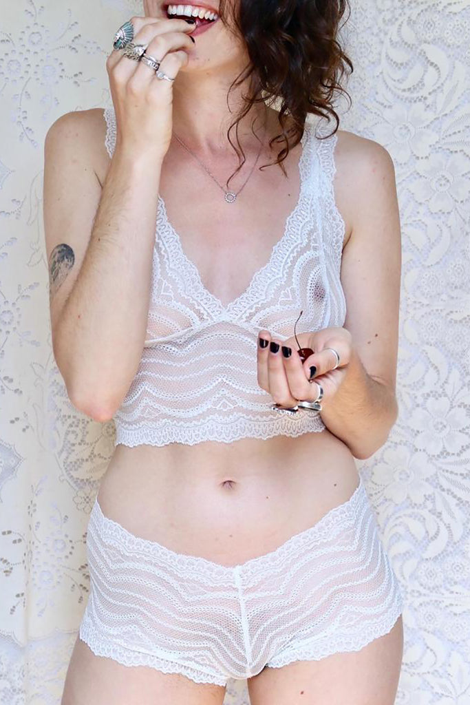 Cream Estelle Lace Longline Lingerie Set