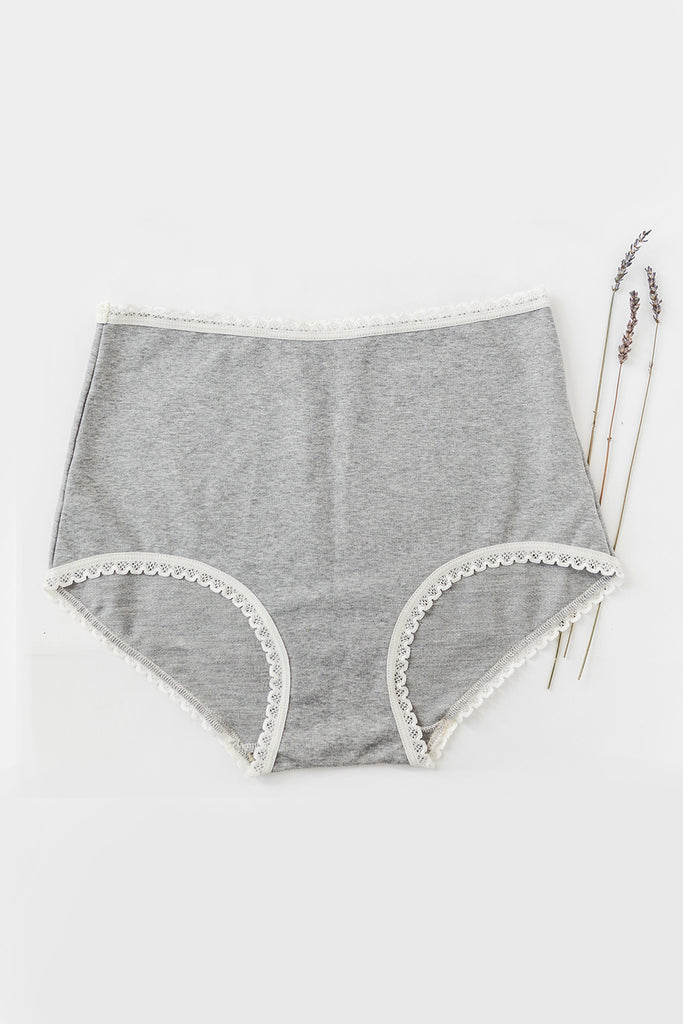 Organic Cotton High Waisted Knickers in Grey